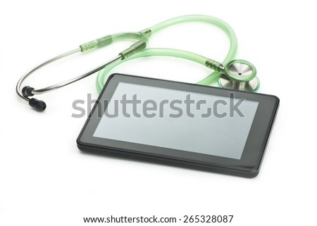 Personal computing device with stethoscope on white background.