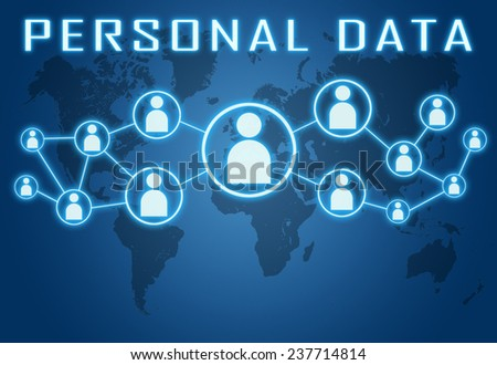Personal Data concept on blue background with world map and social icons. - stock photo