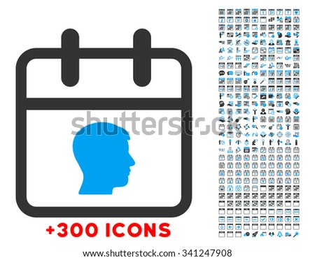 Personal Day glyph icon with additional 300 date and time management pictograms. Style is bicolor flat symbols, blue and gray colors, rounded angles, white background. - stock photo