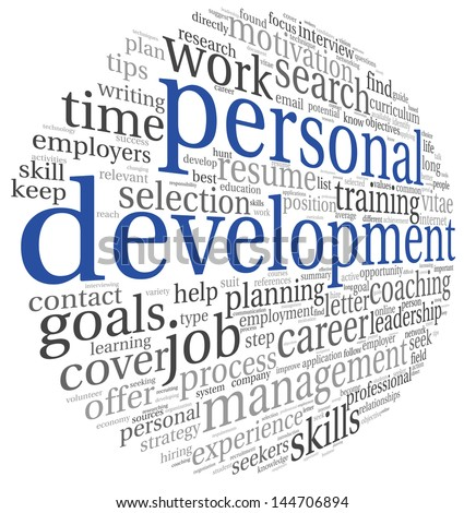 Personal development concept in word tag cloud on white - stock photo