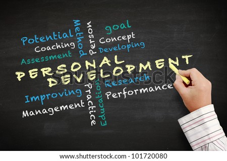 Personal development concept with other related words. handwriting with chalk on a blackboard. - stock photo