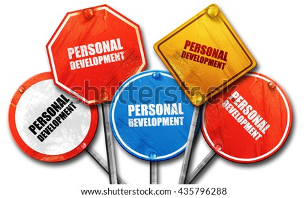 personal development, 3D rendering, rough street sign collection - stock photo