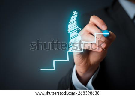 Personal development, personal and career growth, progress and potential concepts. Coach (human resources officer, supervisor) motivate employee to growth. - stock photo
