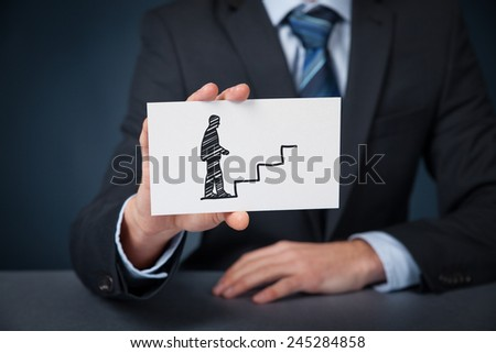 Personal development (personal growth), success, progress and career concepts. Male coach (human resources officer, supervisor) with card and drawn stairs to help employee with career growth. - stock photo