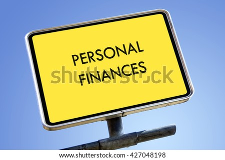 PERSONAL FINANCES word on road sign concept - stock photo