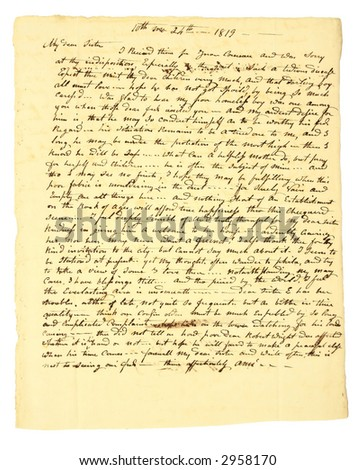 Personal handwritten letter dated Oct 24, 1819. - stock photo