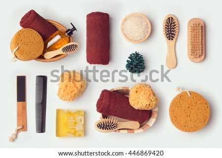 Personal hygiene objects for mock up template and branding identity design. View from above. Flat lay - stock photo