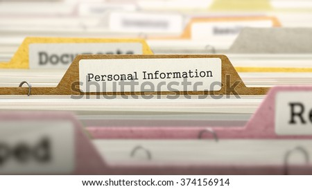 Personal Information - Folder Register Name in Directory. Colored, Blurred Image. Closeup View. 3d Render. - stock photo