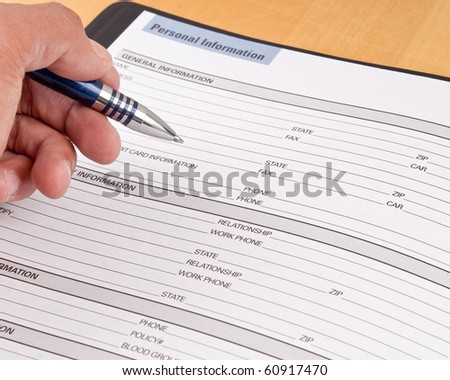 Personal Information Reference Sheet - stock photo