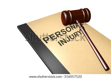 Personal injury titled on legal documents folder with gavel isolated on white - stock photo