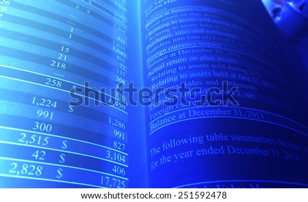 Personal Investment Balance Sheet in Blue                         - stock photo