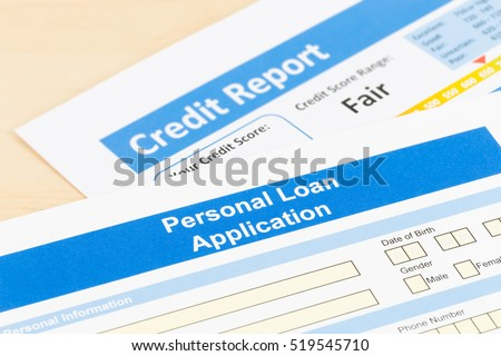 Personal loan application form with fair credit score