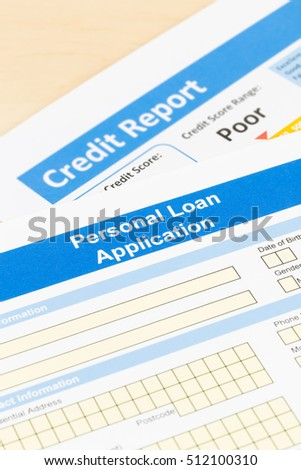 Personal loan application form with poor credit score