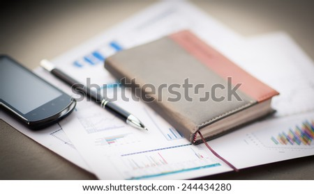 personal organizer and pen on office desk - stock photo