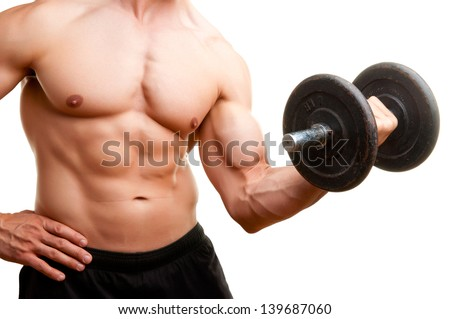 Personal Trainer doing standing dumbbell curls for training his biceps, isolated in white - stock photo