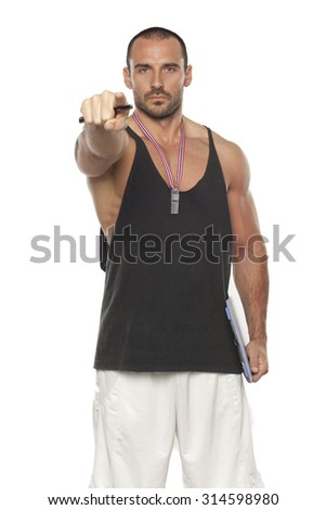 Personal Trainer, isolated in white