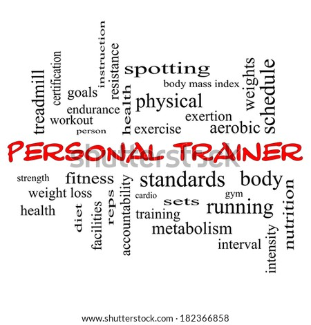Personal Trainer Word Cloud Concept in red caps with great terms such as fitness, exercise, aerobic and more. - stock photo