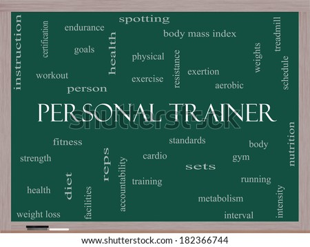 Personal Trainer Word Cloud Concept on a Blackboard with great terms such as fitness, exercise, aerobic and more. - stock photo