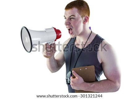 Personal trainer yelling through the megaphone on a white background