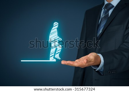 Personal transfer and career - change employer. Customer service concept and human resources (HR) concept. HR staff helps employee with his transfer. - stock photo