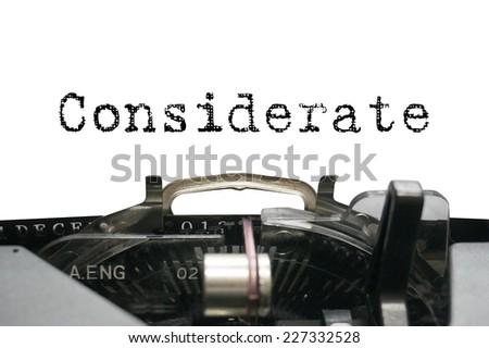 Personality characteristic - Considerate - stock photo