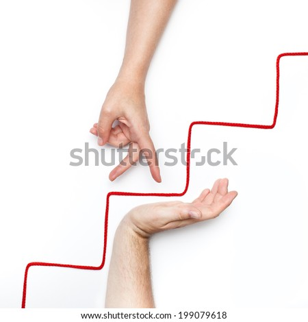 personality growth with coaching and mentoring support conceptual photo with one hand step up on stairs - stock photo