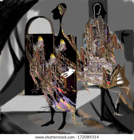 personality, psychology, split personality, marionettes, images, perception of reality, inner world, raster illustration over a black background - stock photo