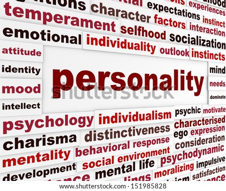 Personality social interaction design. Psychological issue creative words conceptual message - stock photo