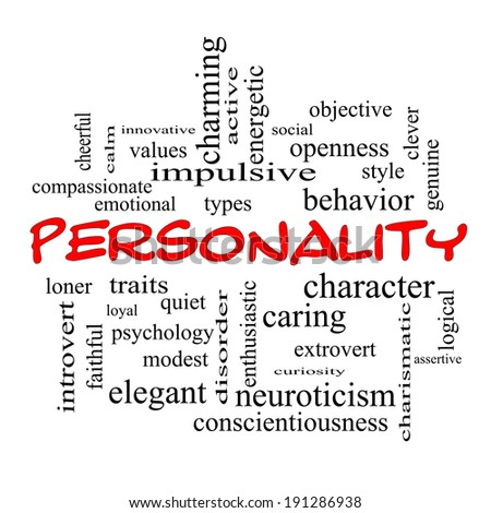 Personality Word Cloud Concept with great terms such as cheerful, character, behavior and more. - stock photo