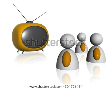 persons and television - stock photo
