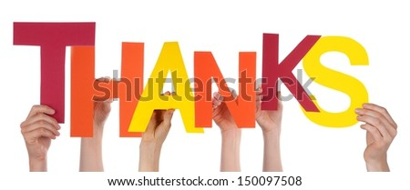 Persons Holding the Letters Thanks, Isolated - stock photo