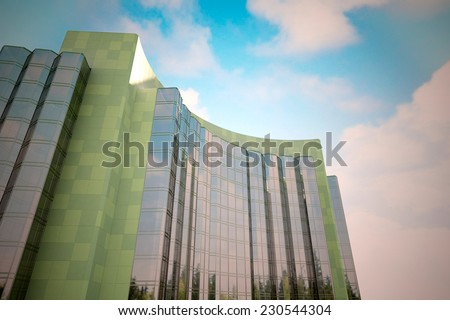Perspective and underside angle view to textured background of modern glass building skyscrapers over blue cloudy sky (3D render) - stock photo