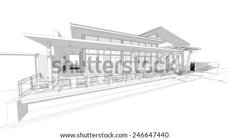 Perspective 3D render of building wireframe.  - stock photo