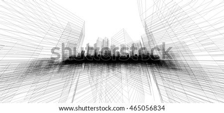 Perspective 3D render of building wireframe. Abstract construction graphic idea.