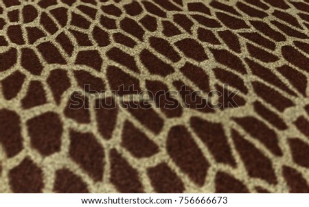 Perspective Giraffe Fur Texture 3D Illustration, Fabric Background