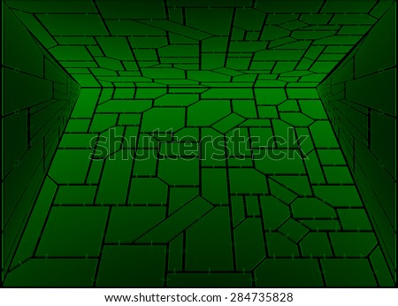Perspective green techno background - stock photo