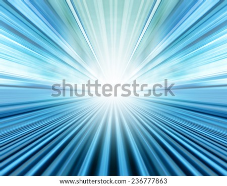 Perspective illustration of wide angle view to modern metal and light blue illuminated airport, spacious high-speed technology moving escalator, fast blurred steel trail in vanishing traffic motion.