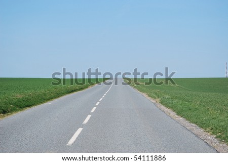 perspective of a countryside road in the horizon