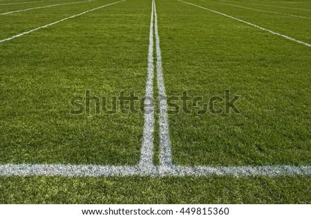 Perspective of a green playing field with painted white lines.