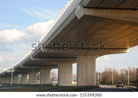 Perspective of a viaduct in Netherlands - stock photo