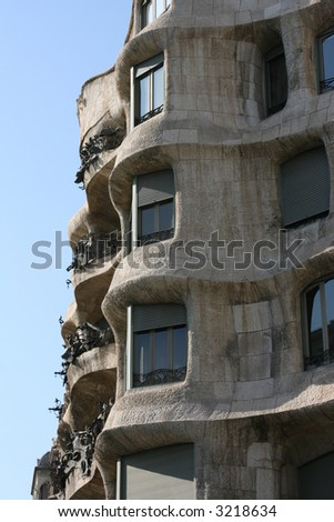 Perspective of Casa Mila By Gaudi Barcelona