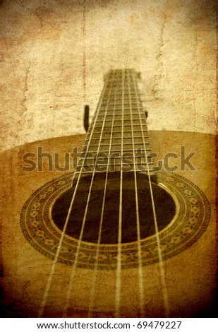 Perspective of classical guitar in grunge retro image background - stock photo