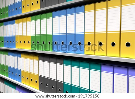 perspective of colorful binders sorted office shelves