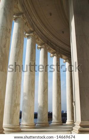 Perspective of Columns, Jefferson Memorial in Washington DC - stock photo