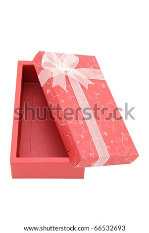 perspective of isolated open red holiday gift box, vertical - stock photo