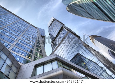 Perspective of modern towers of Moscow city, Russia - stock photo