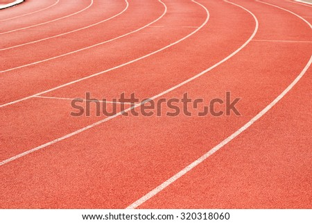 perspective of race track, vertical ,Red Asphalt for runners ,