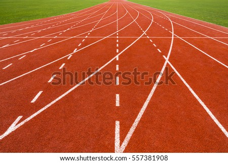 Perspective of running track.
