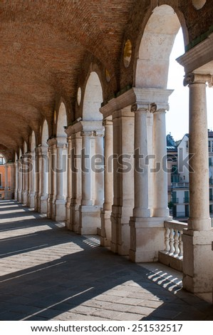 Perspective of the columns of the Basilica palladiana in Vicenza