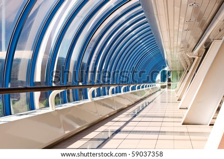 Perspective of the corridor in the modern business centre - stock photo